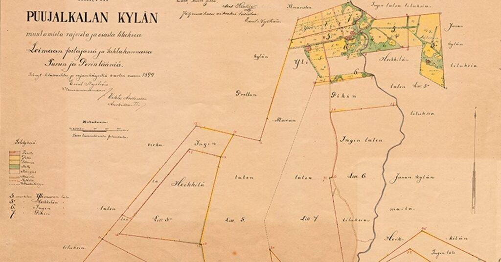 vanha kartta Puujalkalan kylästä