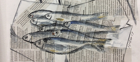 Akvarellimaalaus, jossa sanomalehtipaperille on maalattu kaloja.